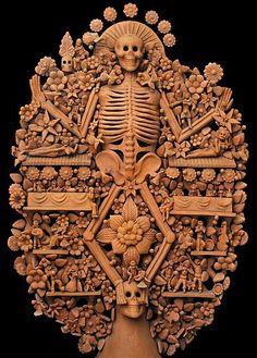 la calaca árbol de la vida, clay mexican handcraft skull tree of life