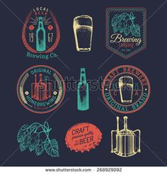 Beer bottle. Beer glass. Hand drawing vector sketch of brewery. Brewery background. Beer icons. Vector set of vintage brewery logo. Retro logotypes collection of beer elements. Craft beer. Beer bar.  - stock vector