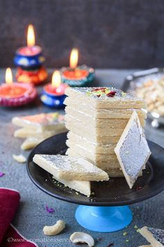 Kaju katli recipe with step-by-step pictures. How to prepare kaju katli. Indian Dessert Recipes, Indian Sweets, Diwali Dishes, Ginger Chutney Recipe, Easy Birthday Desserts, Kaju Katli, Burfi Recipe, Best Cinnamon Rolls, Sweet Desserts
