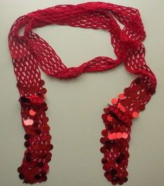 Crochet Long Skinny Embellished Red Rayon Scarf Belt #Chicos #Scarf