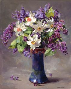 by anne cotterill flower art pinturas Art Floral, Flower Prints, Flower Art, Still Life Art, Oeuvre D'art, Daffodils, Lilacs, Painting & Drawing, Amazing Art
