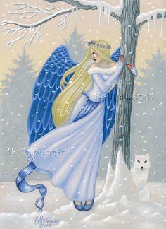 Original Angel Art Winter Solstice Fantasy white by hollydurrart