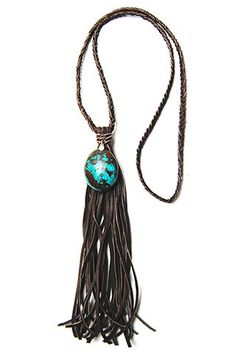 Turquoise Brown Leather Tassel Necklace – Ingrid Ysla