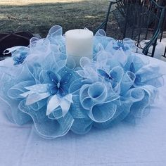 Best 12 18 Deco Mesh/Candle holder/ Wreath in Powder Blue and White Candle Centerpieces, Baby Shower Centerpieces, Christmas Centerpieces, Christmas Decorations, Christmas Candy, Deco Mesh Wreaths, Diy Wreath, Holiday Wreaths, How To Make Wreaths