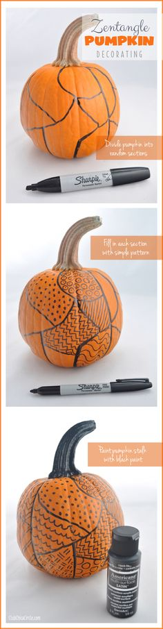 Zentangle Easy Pumpkin Decorating | Tween Craft Ideas for Mom and Daughter