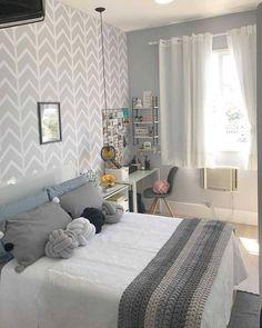 trendy home interior grey curtains Dream Rooms, Dream Bedroom, Home Bedroom, Bedroom Wall, Girls Bedroom, Bedroom Decor, Bedrooms, Master Bedroom, Appartement Design
