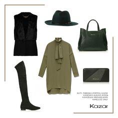 Jesień nie musi być nudna, zwłaszcza z taką stylizacją! Oliwkowa tunika podkreśli kobiecy look, a wysokie, zamszowe muszkieterki mocno wyeksponują nogi. Do tego skórzana zielona torba oraz oryginalny kapelusz i jesteś gotowa na jesień w najlepszym stylu :) Czarne muszkieterki damskie DORYDA - http://bit.ly/2duOg6y Zielona torebka do ręki STACY - http://bit.ly/2e9isE8 Zielono-czarny portfel damski - http://bit.ly/2eaNvAJ
