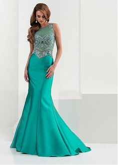 Fabulous Tulle & Satin Jewel Neckline Mermaid Evening Dresses With Beads Rhinestones