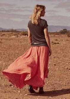 Auguste - Vagabond Shirred Waist Maxi Skirt Red Spanish Caravan - Boho Skirt