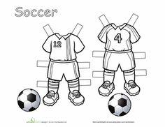 Worksheets: Soccer Paper Dolls