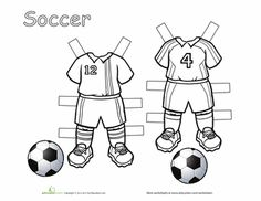 Worksheets: Soccer Paper Dolls