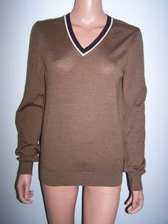 Gucci Brown 100% Wool V-Neck Sweater Women's Size Med - Made in Italy #Gucci #VNeck