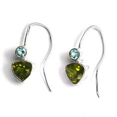 Natural Blue Topaz And Priedot sterling Silver Earring