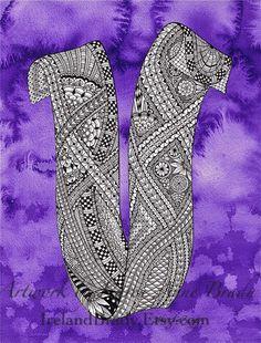 ACEO+Alphabet+Letter+V+zentangle+doodle+initial+by+IrelandBrady,+$1.00