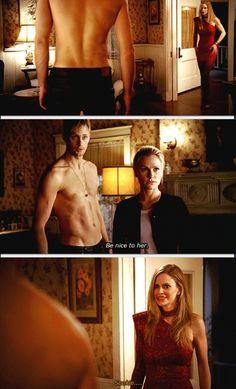 "True blood- sookie, Eric & Pam - ""be nice to her..."" Haha"