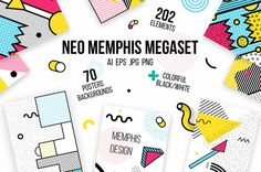 272 patterns, elements MEMPHIS set by softulka on @creativemarket