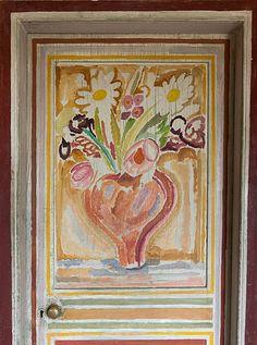 Duncan Grant's bedroom door- decorated by Vanessa Bell in 1918