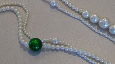 Vintage, faux pearl with a green bead necklace, by JuniperLaneAZ, on Etsy.