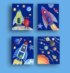 Childrens Wall Art children space art - boys space nursery - childrens wall art
