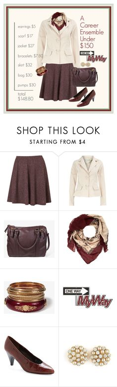 """Contest: A Career Ensemble Under $150"" by halebugg ❤ liked on Polyvore featuring Topshop, Dorothy Perkins, Forever 21, Charlotte Russe, gold bangles, pearl earrings, leatherette, forever 21, oxblood skirt and wine bracelet"