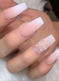 nails french ombre / nails french nails french tip nails french ombre nails french design nails french tip color nails french manicure nails french de colores nails french tip with design Summer Acrylic Nails, Best Acrylic Nails, Acrylic Nail Designs, Matte Nail Art, Ombre Nail Designs, Summer Nails, Diamond Nail Designs, Fake Nail Designs, Nail Crystal Designs