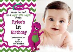 Barney Birthday Invitations - Barney Chevron Invitations - partyexpressinvitations