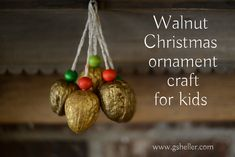 We could hang gold painted walnuts on the tree. Christmas Ornament Crafts, Christmas Art, Christmas Decorations, Christmas Ideas, Holiday Ideas, Holiday Decor, Acorn Crafts, Pine Cone Crafts, Navidad