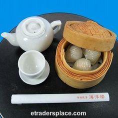 Dollhouse Miniature Dim Sum Har Gau, miniature teapot and chopsticks