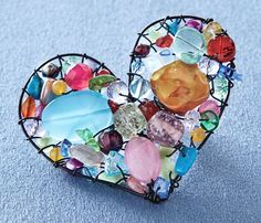 heart with beads and stones
