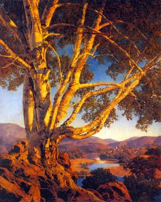 Maxfield Parrish >> Old White Birch     (Oil, artwork, reproduction, copy, painting).