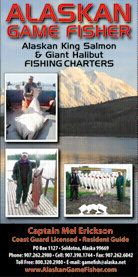 Alaska fishing charters on the Kenai Penisula with Captain Mel Erickson with daily, weekly with all inclusive lodging for Alaska salmon, halibut, Kenai river kings and more.