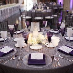 Here's a peek at one of the guest tables from Dennis & Halisi's April 2012 wedding celebration! The color purple has been quite popular with my clients over the last few years! Photo: @photoizehi