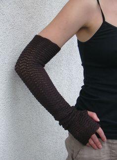 Arm Warmers Mittens Fingerless Gloves Brown by deliriumkredens