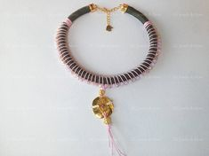 Hamsa hand rope necklase khacki pink crystal beads gold plated charm