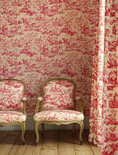 Papel pintado toile Musardiere rojo, telas & papel