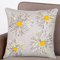 Love the grey on grey w/ pop of yellow. Want this for our living room