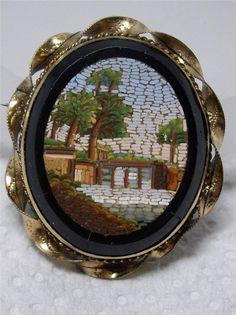 Beautiful Antique Italian Gold Plated Onyx Micro Mosaic Scenic Pin Brooch