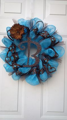 """""""B"""" Blue and Brown Deco Mesh Wreath by Tonia"""