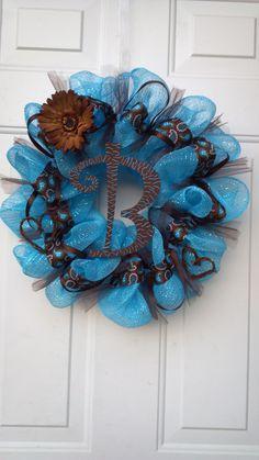 Blue and Brown Deco Mesh Wreath, Cute!