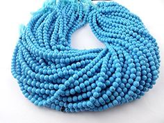 """5 Strands Synthetic Blue Turquoise Smooth Rondelle Shape 5mm 13"""" Long Beads by Raj, http://www.amazon.com/dp/B073S77KZ9/ref=cm_sw_r_pi_dp_x_RQxGzb53GQVQW"""