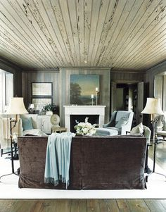 This is one of my new favorites. The ceiling, walls, furniture, color palette, accessories, ALL of it- perfecto.