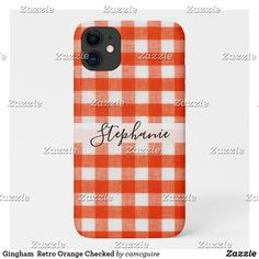 Shop Gingham Retro Orange Checked Case-Mate iPhone Case created by camcguire. Iphone 11, Apple Iphone, Customizable Gifts, Cute Cases, Iphone Case Covers, Color Patterns, Gingham, Business Cards, Create Your Own