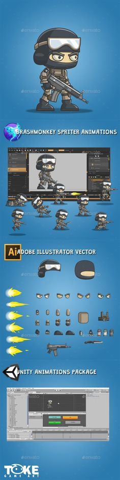 Mike The Counter Terrorist - Sprites Game Assets