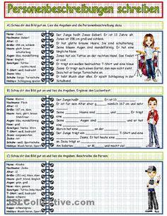 Personenbeschreibung schreiben_2. Arbeitsblatt mit 3 Aufgaben  - Text lesen  - Lückentext  - eigenen Text anhand der ersten beiden Texte.  Kann zur Übung bzw. zur Überprüfung dienen