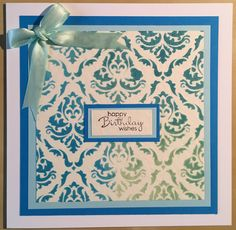 Handmade card by Marie. Made using Tim Holtz distress inks and stencil, Stampin' up sentiment stamp