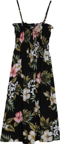 73ea7ff168a Smocked Sundress - Hibiscus Stephanotis Spaghetti Strap Hawaiian Aloha Elastic  Tube Top Sun Dress in Black