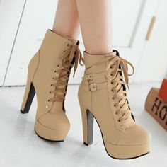 Lace Up Round Toe Platform Stiletto High Heels Short Martin Boots -You can find Platform and more on our website.Lace Up Round Toe Platform Stiletto High Heels. High Heel Pumps, Platform High Heels, Black High Heels, Pump Shoes, Women's Shoes, Stiletto Heels, Shoe Boots, Lace Shoes, Strappy Shoes