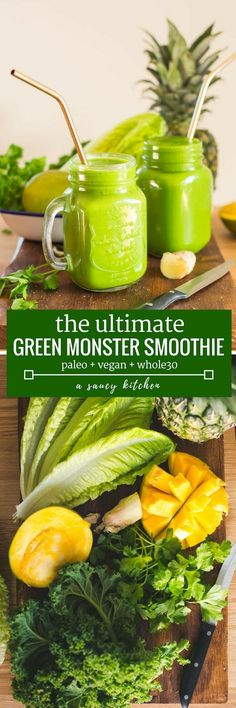 Green Monster Smoothie - loaded with anti inflammatory fruits and vegetables, herbs & spices. Enjoy as a starter to your morning or when you need a pick-me-up throughout the day! Paleo + Vegan