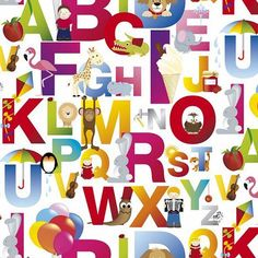 Alphabet & Animals Photo Digital Printed Full Colour Designer Cotton Curtain Upholstery Fabric - Free UK Postage