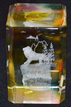"3D Laser Crystal Glass Lion Trees Birds Mountain Clouds Approx. 2.5"" x1.5"" x1.5"""